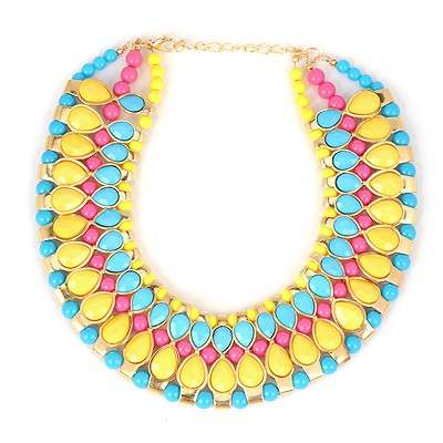 Circle Yellow Water Drop Gemstone Annular Patchwork Design Alloy Bib Necklaces