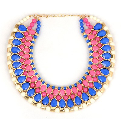 Beige Blue Water Drop Gemstone Annular Patchwork Design Alloy Bib Necklaces