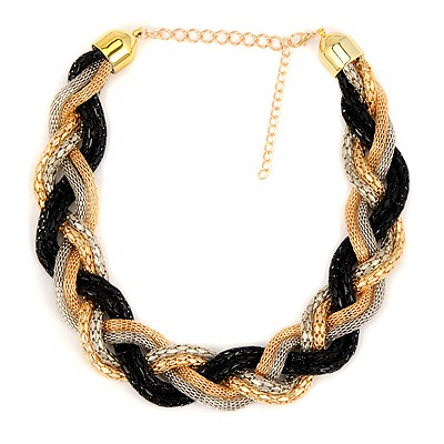 Renaissanc Black Simple Metal Braid Twist Chain Design Alloy Chains