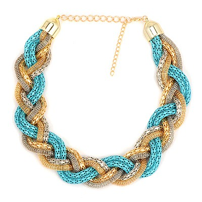 Tummy Blue Simple Metal Braid Twist Chain Design Alloy Chains