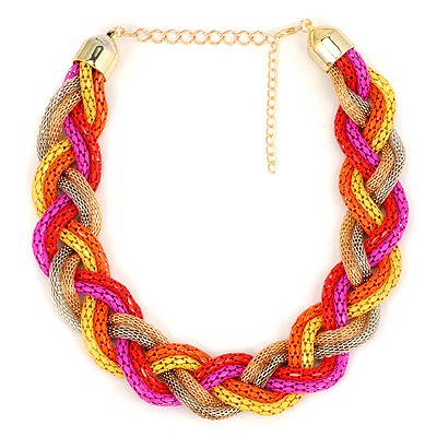 Hipster Multicolor Simple Metal Braid Twist Chain Design Alloy Chains