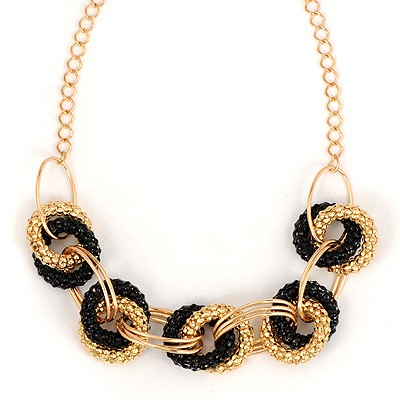 Lovely Black Exaggerated Metal Circle Decorated Alloy Bib Necklaces