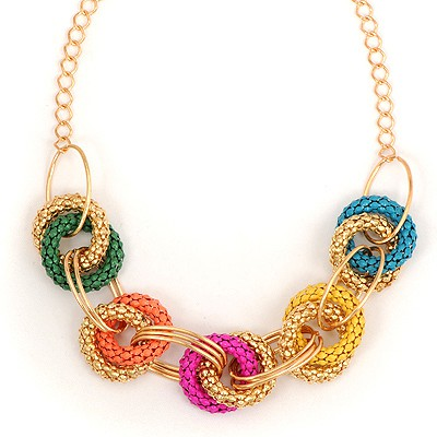 Wishbone Multicolor Exaggerated Metal Circle Decorated Alloy Bib Necklaces