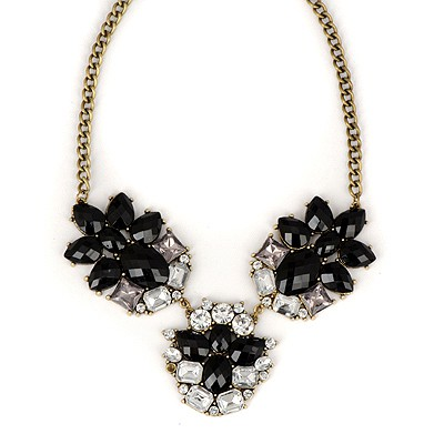 Spiritual Black Gemstone Decorated Simple Design Alloy Bib Necklaces