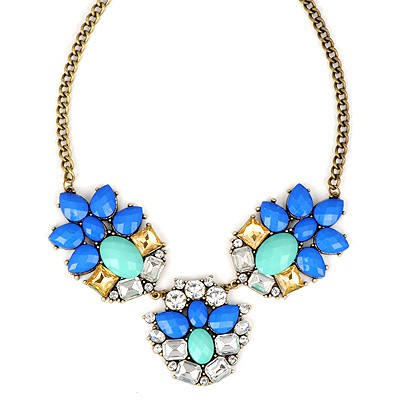 Luxury Blue Gemstone Decorated Simple Design Alloy Bib Necklaces