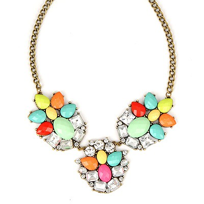 Maternity Multicolor Gemstone Decorated Simple Design Alloy Bib Necklaces