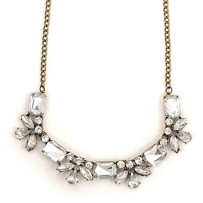 2011 White Geometric Shape Gemstone Decorated Alloy Bib Necklaces