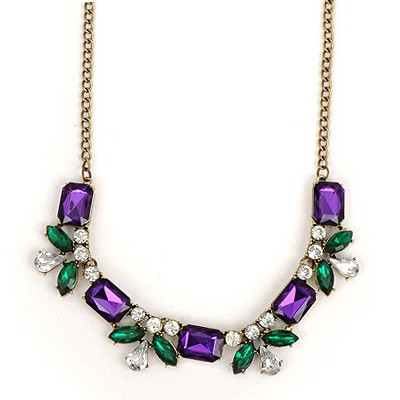 Hanging Purple Geometric Shape Gemstone Decorated Alloy Bib Necklaces