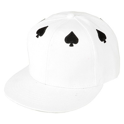 Limited White Embroidery Poker Black Heart Pattern Design Canvas Baseball Caps