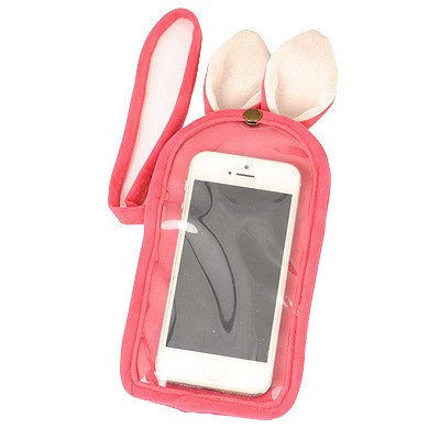 Authentic Pink Cartoon Rabbit Touch Screen Design Velvet Iphone 5 5s
