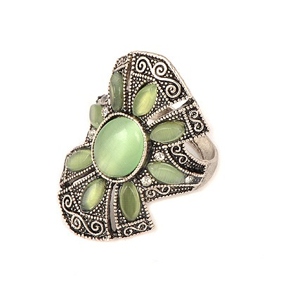 Plaid Green Vintage Flower Design Alloy Korean Rings