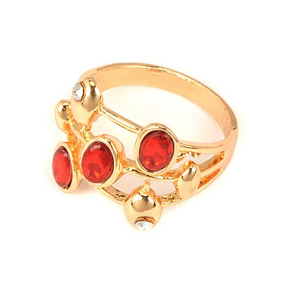 Tall Red Three Gemstones Decorated Alloy Korean Rings