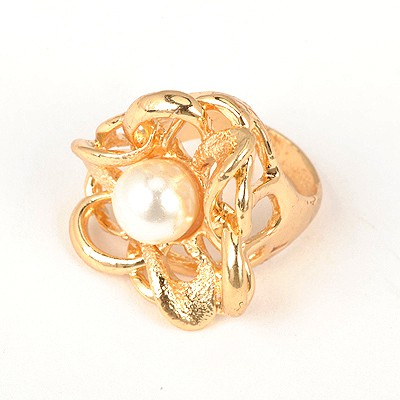 Security White Hollow Out Flower Pearl Design Alloy Korean Rings