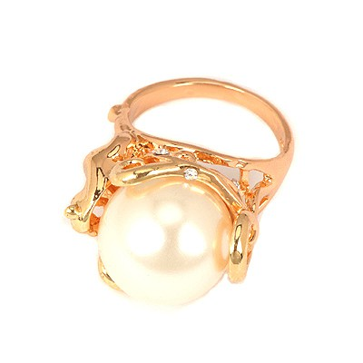Designs White Big Pearl Decorated Alloy Korean Rings