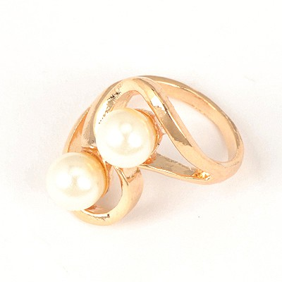 Scottish White Double Pearls Design Alloy Korean Rings