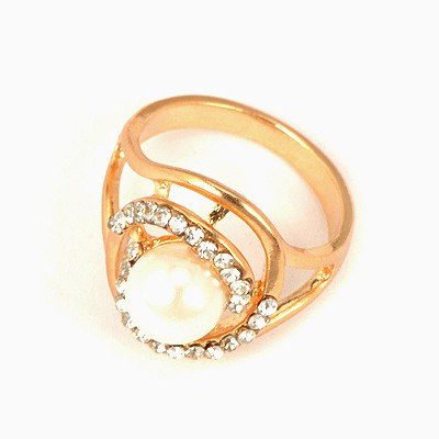 24K White Hollow Out Pearl Design Alloy Korean Rings