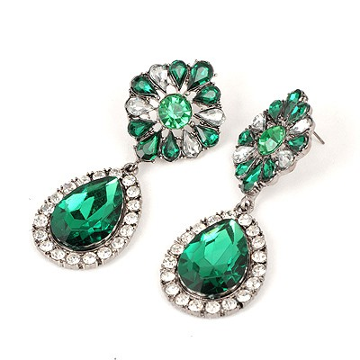 Papyrus Green Water Drop Shape Pendant Design Alloy Korean Earrings