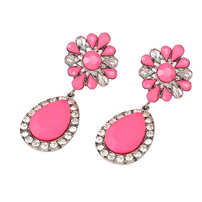 Concealed Plum Red Water Drop Shape Pendant Design Alloy Korean Earrings