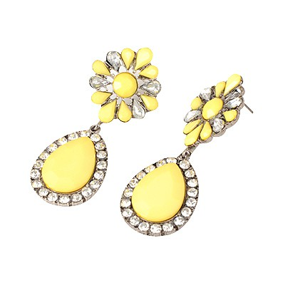 Smart Yellow Water Drop Shape Pendant Design Alloy Korean Earrings