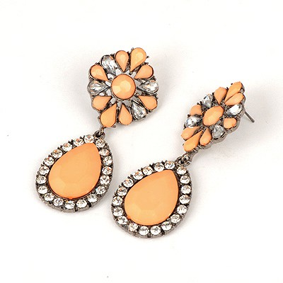Scrabble Orange Water Drop Shape Pendant Design Alloy Korean Earrings