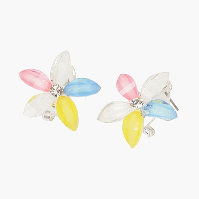 Wool Multicolor Flower Shape Design Alloy Stud Earrings