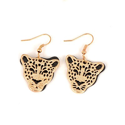 Rugged Gold Color Leopard Head Shape Design Alloy Korean Earrings