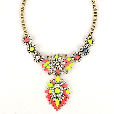 Plussize Multicolor Geometric Gemstone Pendant Design Alloy Bib Necklaces
