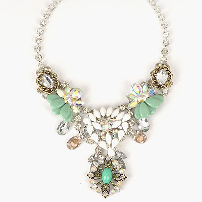 Volcom Green Sweet Hollow Out Flower Gemstone Decorated Alloy Bib Necklaces