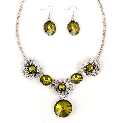 Latest Yellow Round Shape Gemstone Pendant Alloy Jewelry Sets