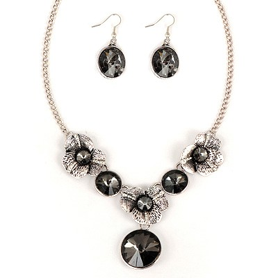 Costume Black Round Shape Gemstone Pendant Alloy Jewelry Sets