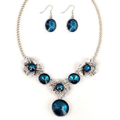 Posh Blue Round Shape Gemstone Pendant Alloy Jewelry Sets
