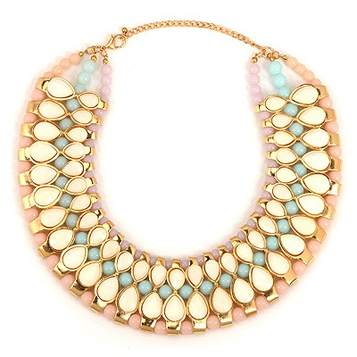 Aamazing Beige Water Drop Gemstone Annular Patchwork Design Alloy Bib Necklaces