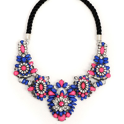 Boutique Dark Blue Luxury Gemstone Flower Decorated Alloy Bib Necklaces