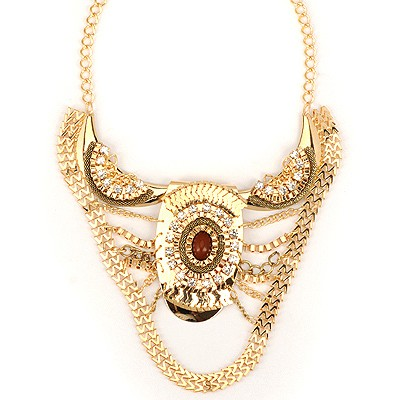 Rosary Gold Color Luxury Ox Horn Shape Decorated Alloy Bib Necklaces