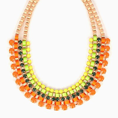 Peridot Orange Metal Weaving Diamond Multilayer Design Alloy Bib Necklaces
