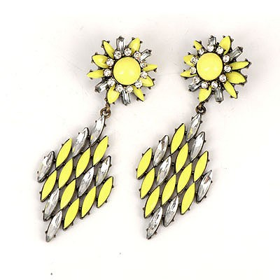 Beaded Yellow Hollow Out Rhombus Shape Design Alloy Korean Earrings