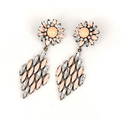 Fashion Pink Hollow Out Rhombus Shape Design Alloy Korean Earrings