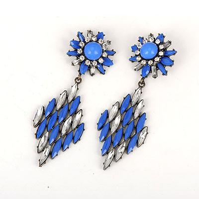 Famale Blue Hollow Out Rhombus Shape Design Alloy Korean Earrings