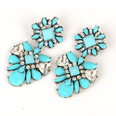 Gorgeous Blue Sparkly Gemstone Decorated Alloy Fashion earrings