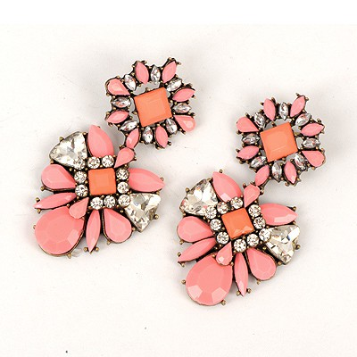 Fused Watermelon Red Sparkly Gemstone Decorated Alloy Fashion earrings