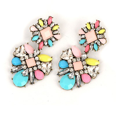 Cocktail Multicolor Sparkly Gemstone Decorated Alloy Fashion earrings
