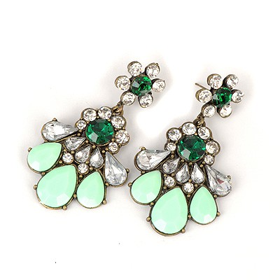 Skinny Light Green Hollow Out Fan Shape Design Alloy Korean Earrings