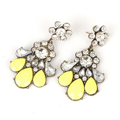 Stronglite Yellow Hollow Out Fan Shape Design Alloy Korean Earrings