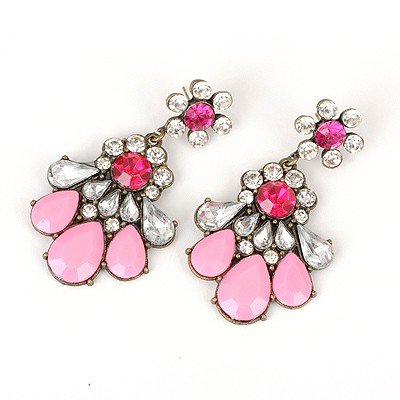 Cheerleadi Watermelon Red Hollow Out Fan Shape Design Alloy Korean Earrings