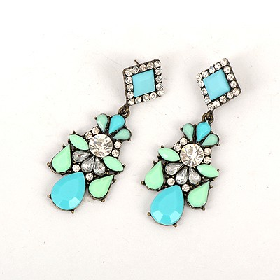 Birthing Blue Water Drop Gemstone Decorated Elegant Design Alloy Korean Earrings