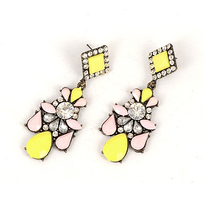 Volcom Yellow Water Drop Gemstone Decorated Elegant Design Alloy Korean Earrings