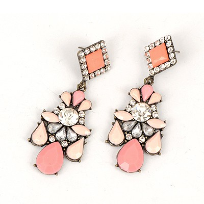 Physical Watermelon Red Water Drop Gemstone Decorated Elegant Design Alloy Korean Earrings