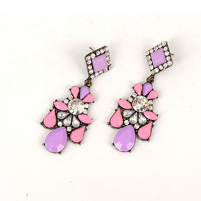 Profession Purple Water Drop Gemstone Decorated Elegant Design Alloy Korean Earrings