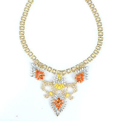 Jockey Orange Flower Decorated V-Shaped Pendant Alloy Bib Necklaces