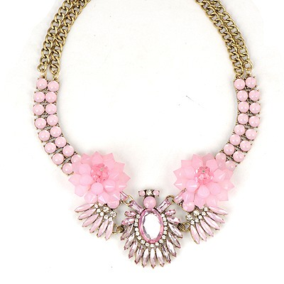 Kennedy Pink Beads Flower Decorated Double Layer Design Alloy Bib Necklaces